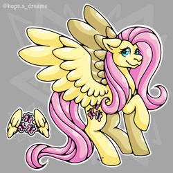 Size: 768x768 | Tagged: safe, artist:hopes-dream, fluttershy, pony, abstract background, female, fluttershy's cutie mark, raised hoof, solo