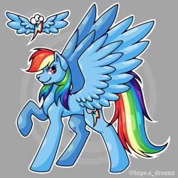 Size: 768x768 | Tagged: safe, artist:hopes-dream, rainbow dash, pegasus, pony, abstract background, female, rainbow dash's cutie mark, raised hoof, solo