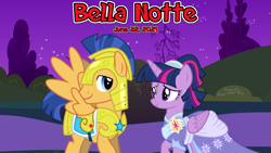 Size: 2064x1162 | Tagged: safe, anonymous artist, flash sentry, twilight sparkle, armor, bella notte, canterlot, clothes, coronation dress, dress, female, flashlight, friendship, garden, looking at each other, lyrics in the description, male, movie reference, night, royal guard armor, shipping, smiling, smiling at each other, song reference, stars, straight, youtube link in the description