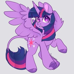 Size: 700x700 | Tagged: safe, artist:miishwoom, twilight sparkle, alicorn, pony, colored hooves, cute, female, gray background, leonine tail, looking at you, mare, simple background, solo, spread wings, tail fluff, twiabetes, twilight sparkle (alicorn), underhoof, wings