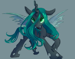 Size: 3000x2381   Tagged: safe, artist:alphabetnoot, queen chrysalis, changeling, changeling queen, fangs, female, gray background, high res, looking at you, simple background, solo