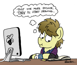 Size: 2000x1691   Tagged: safe, artist:bobthedalek, oc, oc only, oc:kettle master, earth pony, pony, atg 2021, banana, bathrobe, clothes, computer, food, messy mane, newbie artist training grounds, pajamas, pencil, robe, sketchbook, thought bubble