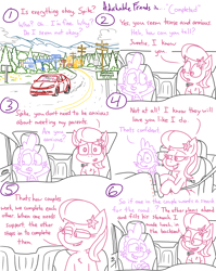 Size: 4779x6013 | Tagged: safe, artist:adorkabletwilightandfriends, lily, lily valley, spike, comic:adorkable twilight and friends, adorkable, adorkable friends, anxiety, anxious, car, comfort, comic, cute, dashboard, dating, dork, driving, happy, love, nervous, ponyville, prepared, relationship, relationships, road trip, scared, scenery, seatbelt, slice of life, snack