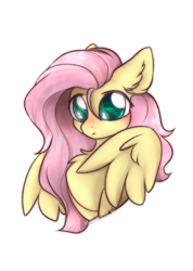 Size: 1704x2400 | Tagged: safe, artist:mariashek, fluttershy, pegasus, pony, big eyes, blushing, bust, chest fluff, cute, daaaaaaaaaaaw, ear fluff, female, frown, high res, mare, shyabetes, simple background, solo, stray strand, watermark, white background
