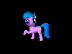 Size: 1200x900   Tagged: safe, artist:mrbarney94, aura (character), earth pony, pony, g1, g4, 3d, 3d pony creator, female, filly, g4 style, ponylumen, raised hoof, raised leg, simple background, transparent background