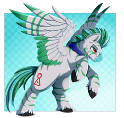 Size: 3000x2850   Tagged: safe, artist:pridark, oc, oc only, pegasus, zebra, bipedal, cloven hooves, colored wings, commission, cutie mark, glasses, high res, lidded eyes, male, multicolored wings, pegasus oc, raised hoof, solo, wings