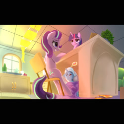 Size: 2000x2000 | Tagged: safe, artist:darksly, phyllis, starlight glimmer, trixie, twilight sparkle, alicorn, pony, unicorn, chair, desk, drool, eyes closed, female, food, grin, inconvenient trixie, mare, newbie artist training grounds, open mouth, pancakes, sleeping, smiling, starlight's office, trio, twilight is not amused, twilight sparkle (alicorn), unamused, under the table