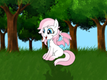 Size: 1283x962 | Tagged: safe, artist:apexpone, oc, oc only, bat pony, pony, bat pony oc, commission, female, forest, pony oc, solo, tree