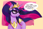 Size: 2714x1810 | Tagged: safe, artist:cadillacdynamite, twilight sparkle, alicorn, pony, the last problem, crown, cute, eyebrows, eyebrows visible through hair, female, glasses, grin, high res, implied luster dawn, jewelry, mare, offscreen character, offscreen female, older, older twilight, princess twilight 2.0, regalia, smiling, solo, speech bubble, twiabetes, twilight sparkle (alicorn)