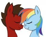 Size: 1187x950 | Tagged: safe, artist:apexpone, rainbow dash, oc, pegasus, pony, canon x oc, love, pony oc, wholesome, xerodash
