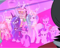 Size: 442x356 | Tagged: safe, screencap, applejack, cozy glow, discord, fluttershy, lord tirek, pinkie pie, princess celestia, princess luna, queen chrysalis, rainbow dash, rarity, spike, twilight sparkle, alicorn, the ending of the end, angry, carpet, cropped, crown, jewelry, magic, mane six, offscreen character, peytral, regalia, shield, twilight sparkle (alicorn)