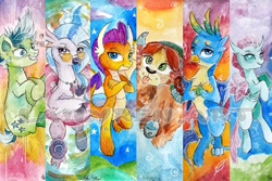 Size: 1772x1181   Tagged: safe, artist:lailyren, gallus, ocellus, sandbar, silverstream, smolder, yona, changedling, changeling, dragon, earth pony, griffon, hippogriff, pony, yak, bookmark, colt, crossed arms, female, glasses, grin, looking at you, male, nervous, nervous grin, smiling, student six, tongue out, traditional art, watercolor painting, watermark