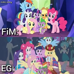 Size: 1080x1080   Tagged: safe, edit, edited screencap, editor:rainbow_dashery, screencap, applejack, fluttershy, pinkie pie, rainbow dash, rarity, spike, twilight sparkle, alicorn, dog, dragon, earth pony, pegasus, pony, unicorn, equestria girls, equestria girls (movie), season 4, twilight's kingdom, applejack's hat, bare shoulders, big crown thingy, cowboy hat, cute, dashabetes, diapinkes, element of magic, fall formal outfits, female, flying, grin, hat, humane five, humane six, jackabetes, jewelry, let the rainbow remind you, male, mane seven, mane six, mare, open mouth, ponied up, raribetes, regalia, shyabetes, sleeveless, smiling, spikabetes, spike the dog, spread wings, strapless, this is our big night, twiabetes, twilight ball dress, twilight sparkle (alicorn), twilight's castle, wings