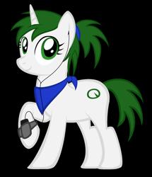 Size: 1620x1880 | Tagged: safe, artist:strategypony, oc, oc only, oc:reno, pony, unicorn, bandana, cellphone, earbuds, green eyes, phone, ponytail, raised hoof, simple background, smartphone