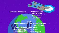 Size: 800x454 | Tagged: safe, artist:jrshinkansenhorse, sunset shimmer, oc, oc:captain becky ray shoichet, oc:commander inat'p, oc:lieutanant commander bootsplash, oc:lieutanant gorfilo, star trek: sunset shimmer, equestria girls, equestria girls series, crossover, end credits, fake, faker than a three dollar bill, gary schwartz, gilbert gottfried, ishi rudell, katrina hadley, loree mcbride, rebecca shoichet, star trek, stuart baird