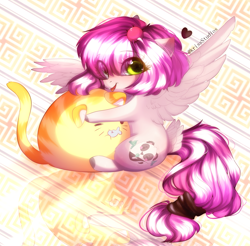 Size: 2231x2197 | Tagged: safe, artist:krissstudios, oc, cat, pegasus, pony, chibi, chubbie, female, hug, mare, solo