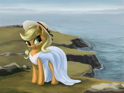 Size: 3000x2250 | Tagged: safe, artist:flusanix, applejack, earth pony, pony, applejack also dresses in style, clothes, dress, female, hat, high res, lipstick, mare, solo