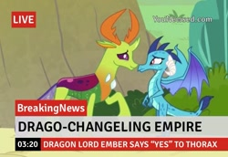 Size: 750x515   Tagged: safe, edit, edited screencap, screencap, princess ember, thorax, changedling, changeling, triple threat, break your own news, dragon lord ember, embrax, female, king thorax, male, shipping, straight