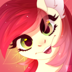Size: 2255x2268   Tagged: safe, artist:elektra-gertly, roseluck, cute, open mouth