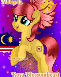 Size: 720x903 | Tagged: safe, artist:viani_pegasister, oc, oc:rosa blossomheart, earth pony, pony, female, malaysia, mare, name, nation ponies, open mouth, paint, ponified, smiling, stars, watermark