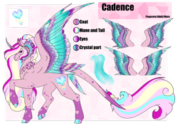 Size: 1920x1358 | Tagged: safe, artist:oneiria-fylakas, princess cadance, pony, alternate design, colored wings, multicolored wings, reference sheet, solo, tail feathers, wings