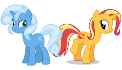 Size: 1280x736   Tagged: safe, artist:axxie13, sunset shimmer, trixie, female, hairstyle swap, lesbian, shipping, suntrix, vector