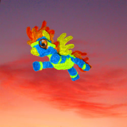 Size: 2769x2769   Tagged: safe, alternate version, artist:malte279, spitfire, pegasus, chenille, chenille stems, chenille wire, clothes, craft, flying, photo, pipe cleaner sculpture, pipe cleaners, sculpture, sky, solo, sunset, uniform, wonderbolts uniform
