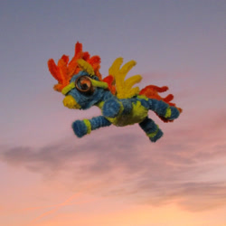 Size: 1857x1857   Tagged: safe, alternate version, artist:malte279, spitfire, pegasus, chenille, chenille stems, chenille wire, clothes, craft, flying, photo, pipe cleaner sculpture, pipe cleaners, sculpture, sky, solo, sunset, uniform, wonderbolts uniform
