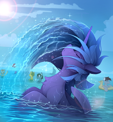 Size: 2100x2275 | Tagged: safe, artist:yakovlev-vad, princess luna, alicorn, pony, background pony, chest fluff, eyes closed, female, female focus, mare, ocean, solo focus, water, wet