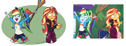 Size: 1072x389 | Tagged: safe, artist:beefgummies, fluttershy, rainbow dash, sci-twi, sunset shimmer, twilight sparkle, equestria girls, equestria girls series, sunset's backstage pass!, spoiler:eqg series (season 2), arms in the air, blushing, bracelet, clothes, excited, jewelry, paddle, ponytail, redraw, scene interpretation, shorts, slapstick, smack, starswirl music festival, surprised, visor, wide eyes