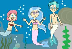 Size: 2030x1378 | Tagged: safe, artist:ocean lover, ocellus, silverstream, terramar, human, merboy, mermaid, merman, belly button, bra, bubble, female, fins, humanized, jewelry, male, midriff, necklace, ocean, rock, seashell, seashell bra, seaweed, species swap, underwater