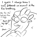 Size: 3000x3000 | Tagged: safe, artist:tjpones, spike, dragon, black and white, dialogue, existential crisis, grayscale, high res, male, monochrome, offscreen character, older, older spike, solo, therapy