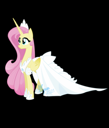 Size: 746x873 | Tagged: safe, artist:natalysweeneyart, fluttershy, alicorn, pony, alicornified, black background, clothes, dress, female, fluttercorn, folded wings, hoof shoes, jewelry, looking away, looking up, mare, princess fluttershy, race swap, simple background, smiling, solo, standing, three quarter view, tiara, white dress, wings