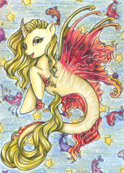 Size: 1615x2248 | Tagged: safe, artist:fake-elf, oc, oc only, alicorn, fish, hybrid, merpony, pony, seapony (g4), colored pupils, commission, dorsal fin, eyelashes, female, fin wings, fins, fish tail, flowing tail, horn, open mouth, seaponified, slit eyes, smiling, solo, species swap, stars, tail, underwater, water, wings, yellow eyes, yellow mane