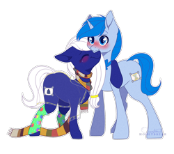 Size: 2118x1872 | Tagged: safe, artist:honeybbear, oc, oc only, earth pony, pony, unicorn, clothes, female, fourth doctor's scarf, male, mare, scarf, simple background, stallion, transparent background