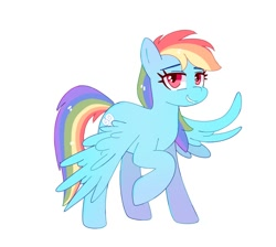 Size: 1324x1184 | Tagged: safe, artist:aaa-its-spook, rainbow dash, pegasus, pony, female, lidded eyes, mare, simple background, smiling, solo, spread wings, white background, wings