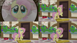 Size: 1280x720 | Tagged: safe, edit, edited screencap, editor:quoterific, screencap, fluttershy, pegasus, pony, fluttershy leans in, season 7, cute, female, mare, one eye closed, open mouth, shyabetes, solo