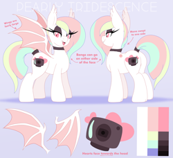 Size: 4425x4044 | Tagged: safe, artist:pearlyiridescence, oc, oc only, oc:pearly iridescence, bat pony, pony, albino, bat pony oc, black eyeshadow, choker, ear fluff, fangs, female, mare, reference sheet, smiling, solo, tail wrap