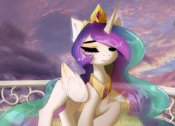 Size: 2679x1934 | Tagged: safe, artist:empress-twilight, princess celestia, alicorn, pony, cloud, crown, eyes closed, fence, i can't believe it's not magnaluna, jewelry, regalia, sky