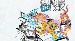 Size: 3295x1820   Tagged: safe, artist:detour, fluttershy, pegasus, pony, female, fire, high res, mare, open mouth, solo, traditional art, truck