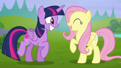 Size: 1280x720   Tagged: safe, screencap, fluttershy, twilight sparkle, alicorn, pegasus, pony, season 5, the hooffields and mccolts, ^^, cute, duo, duo female, eyes closed, female, glowing cutie mark, grin, mare, open mouth, open smile, shyabetes, smiling, twiabetes, twilight sparkle (alicorn), yay