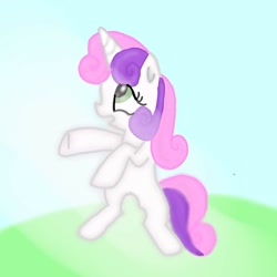 Size: 1024x1024   Tagged: safe, artist:rainyponyindo, sweetie belle, unicorn, female, filly, grass, ibispaint x, light, open mouth, shy, sky, smiling, solo