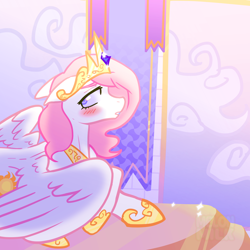 Size: 1920x1920   Tagged: safe, alternate version, artist:melonmilk, princess celestia, alicorn, pony, blushing, crown, female, jewelry, mare, regalia, solo