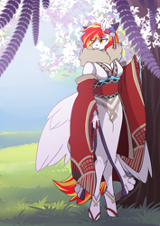 Size: 2481x3507 | Tagged: safe, artist:arctic-fox, oc, oc only, oc:diamond sun, pegasus, anthro, unguligrade anthro, anthro oc, clothes, eye clipping through hair, eyebrows, eyebrows visible through hair, female, flower, flower in hair, high res, kimono (clothing), mare, pegasus oc, solo, wings
