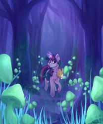 Size: 1920x2304   Tagged: safe, artist:fanaticpanda, twilight sparkle, pony, unicorn, book, female, forest, glowing horn, horn, mare, mushroom, tree, unicorn twilight