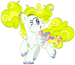 Size: 1280x1112 | Tagged: safe, artist:rohans-ponies, surprise, pony, g1, bow, deviantart watermark, g1 to g4, generation leap, obtrusive watermark, simple background, solo, tail bow, transparent background, two toned wings, watermark, wings