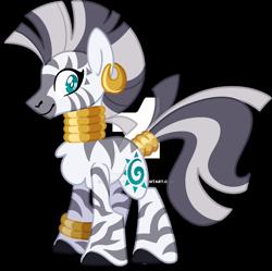 Size: 1600x1591 | Tagged: safe, artist:rohans-ponies, zecora, zebra, beautiful, deviantart watermark, ear piercing, earring, green eyes, happy, jewelry, obtrusive watermark, piercing, simple background, solo, transparent background, watermark, white pupils