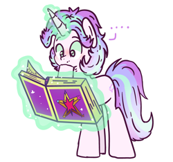 Size: 3717x3480   Tagged: safe, artist:maiii-san, oc, oc only, pony, unicorn, ..., book, glowing horn, horn, magic, reading, simple background, solo, telekinesis, thinking, white background