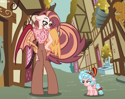 Size: 2884x2285   Tagged: safe, artist:maiii-san, cozy glow, oc, draconequus, hybrid, pegasus, pony, anthro, unguligrade anthro, anthro with ponies, building, draconequus oc, duo, female, filly, interspecies offspring, offspring, parent:discord, parent:fluttershy, parents:discoshy, smiling