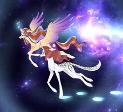 Size: 1080x986 | Tagged: safe, artist:sia.brony, oc, oc only, oc:sia, alicorn, pony, unicorn, alicorn oc, duo, female, flying, glowing horn, horn, mare, space, stars, unicorn oc, wings